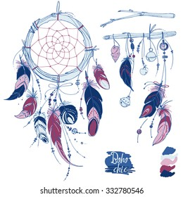 Set of ornaments, feathers and beads. Native american indian dream catcher, traditional symbol. Feathers and beads on white background. Vector decorative elements hippie. Coloring book for adults