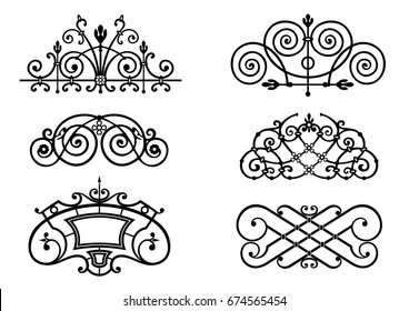 A set of ornaments for forged window grilles. Vignettes. Vector graphics. Patterns