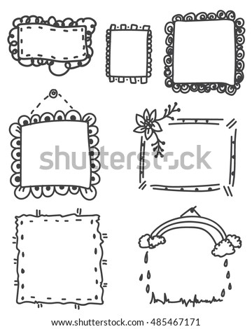 ornate black picture frames rectangle black set of ornate black picture frames isolated on whitefree hand drawing frame ornate black picture frames isolated stock vector royalty free