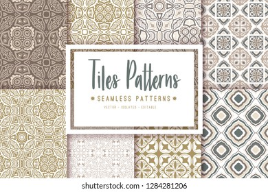 Set of ornate floral seamless textures, mandala pattern with flowers looks like retro snowflakes or snowfall. - Vector