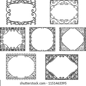 A set of the ornate frames in the art nouveau style