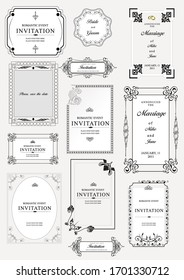 Set of ornate frames and ornaments with sample text. Perfect as invitation or announcement. All pieces are separate