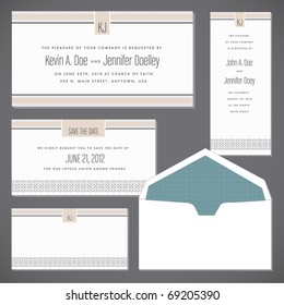 Set of ornate vector frames and envelope set. Easy to edit. Perfect for invitations or announcements.
