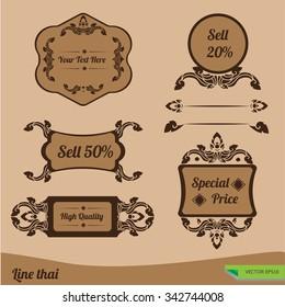 Set of ornate vector frames Line thai traditional Thai style.