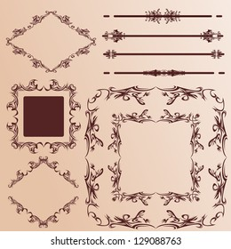 Set of ornate vector frames and ornaments with sample text