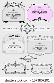 Set of ornate vector frames and ornaments with sample text. Perfect as invitation or announcement. All pieces are separate. Easy to change colors and edit.