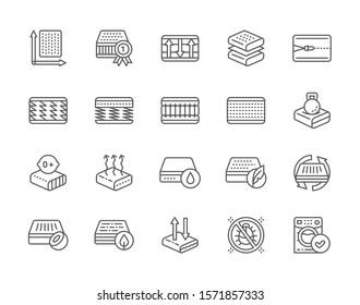 Set of Orthopedic Mattress Line Icons. Elastic Material, Flexible Layered, Zipper, Watterproof Material, Anti Allergic and more.