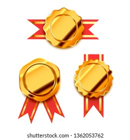 Set os bright golden awards with red tapes, glossy winner badges isolated on white