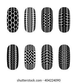 Set os truck tire tracks isolated on white background