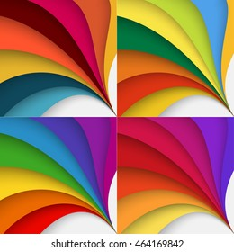 Set ot abstract colorful background in Olympic games style 2016 with twisted forms.Vector graphic includes brown, yellow, orange, red and violet colors.