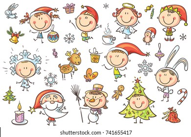 A set ot funny sketchy kids in Christmas costumes with different holiday attributes. No gradients used, easy to print and edit. Vector files can be scaled to any size.