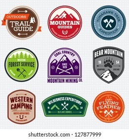 Set of outdoor adventure and expedition logo badges