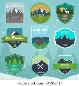 Set of outdoor adventure and expedition logo badges with mountains and forest. Vector