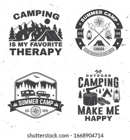 Set of outdoor adventure inspirational quote. Vector illustration. Concept for shirt, logo, print, stamp or tee. Vintage typography design with camper tent, mountain, forest landscape silhouette.