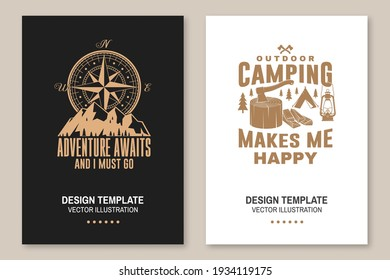 Set of outdoor adventure inspirational quote flyer, brochure, banner, poster. Vector illustration. Typography design with camper tent, mountain, forest landscape silhouette.