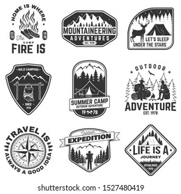 Set of outdoor adventure quotes symbol. Vector. Concept for shirt or logo, print, stamp. Vintage design with mountains, compass, rv trailer, camping tent, campfire, bear, tent and forest silhouette