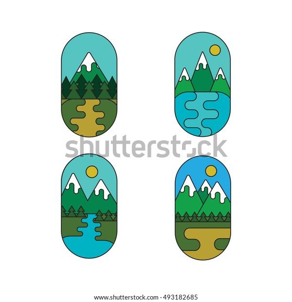 Set of outdoor adventure retro labels. Collection of landscape vector logos