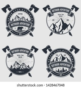 Set of Outdoor Adventure vintage label, badge, logo or emblem. Vector illustration.