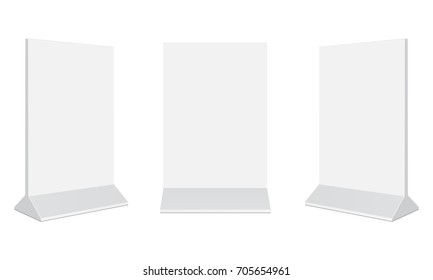 Set of outdoor advertising stand banners. Blank vertical poster isolated on white background. Display your design on this mockups in different positions. Vector illustration