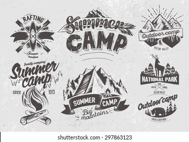 Set outdoor camp typography design label