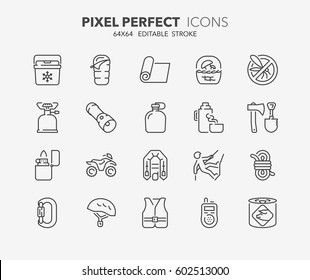 Set of outdoor and camping activities thin line icons. Contains icons as mycological tourism, survival equipment, quad bike, climbing equipment and more. Editable vector stroke. 64x64 Pixel Perfect.