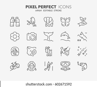 Set of outdoor and ecotourism activities, thin line icons. Contains icons as fauna and flora observation, national parks, sport fishing and more. Editable vector stroke. 64x64 Pixel Perfect.