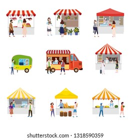 Set outdoor street food festival canopy tent pavilion shopping stall kiosk with people walking between vans or caterers, canopy, buying meals, eating and drinking, taking selfie, talking to each other