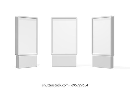 Set of Outdoor white lightbox citylight advertising stand, isolated on white background. POS POI. Multimedia stand template. Vector illustration.