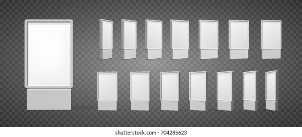 Set of Outdoor white lightbox citylight advertising stand, isolated on transparent background. POS POI. Multimedia stand template. Vector illustration.