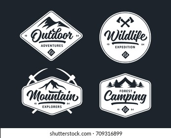 Set of outdoor wild life related labels badges emblems and design elements for t-shirt, posters, prints. Vintage typography compositions. Vector illustration.