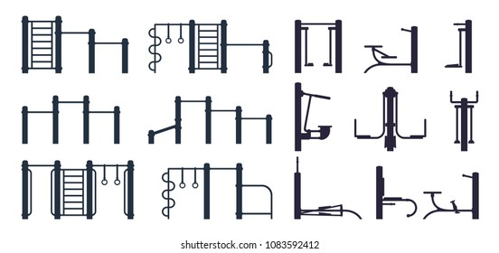 Set of outdoor workout gym black silhouette equipment and trainer machine. Street fitness background elements. Sport background. Vector illustration isolated on white.