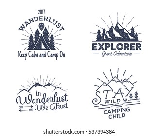 Set of outdoors activity badges. Retro illustration of outdoor activity labels. Typography and roughen style. Vector outdoors activity logo with letterpress effect. Custom quotes. Inspirational text