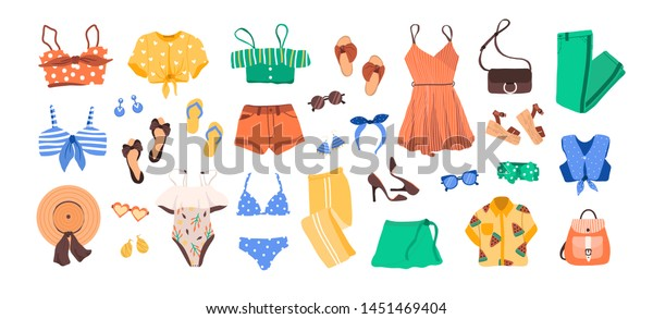 Set Outfit Creator Summer Fashion Womens Stock Vector