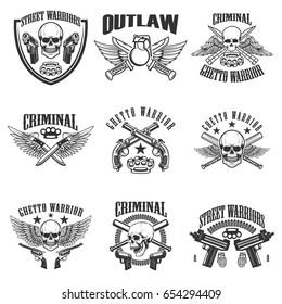 Set of outlaw, criminal, street warrior emblems. Skulls with wings, guns and swords. Design elements for logo, label, emblem, sign, poster, t-shirt. Vector illustration