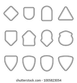 Set of outline badge shape. Trophy and reward, competition and victory, success and achievement. Flat vector cartoon illustration. Objects isolated on white background.