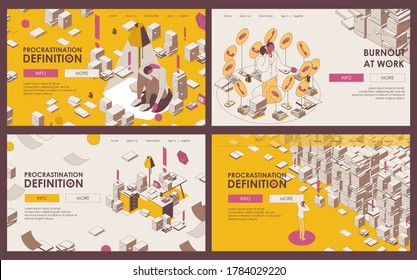Set of outline banners or landing page templates about procrastination, deadline, burnout and lots of paperwork in yellow and beige colors. Office isometric scenes with depressed people