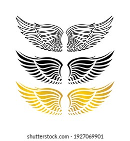 Set of outline, black and gold wings icons. Wings badges. Collection wings badges. Vector illustration.