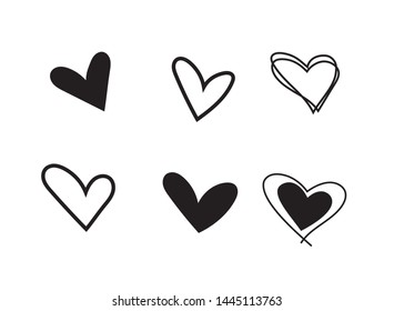 Set of outline  black hand drawn heart icon.Hand drawn doodle grunge heart vector set.Rough marker hearts isolated on white background. vector heart collection.Unique Painted