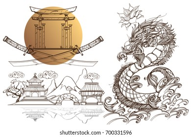 A set of outline black and white illustrations with sketches of tattoos on the theme of the Japanese fanart.