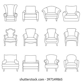 A set of outline chair isolated on white background. Armchair icon design. Vector illustration.