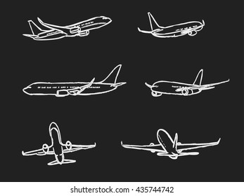 set of outline chalk airplanes