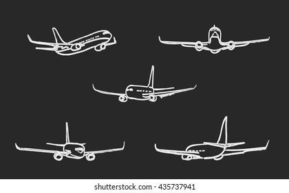 set of outline chalk airplanes for Your design. vector illustration