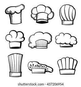Set of outline chef hats and kitchen toques icons. Vector illustration