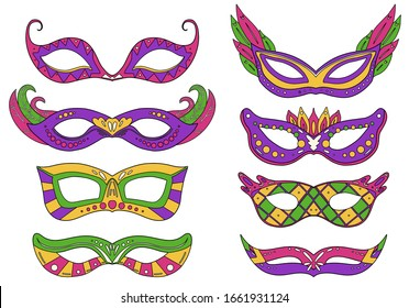 Set of outline colorful carnival masks with various decorations. Flat line art holiday object. Festival dressing for the face. Vector object separate from the background.