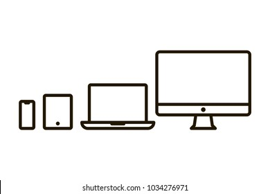 Set of outline devices icons: computer monitor, computer, laptop, phone, tablet. Line symbols isolated on white background. Vector illustration.