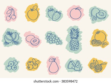 set of outline drawing fruits