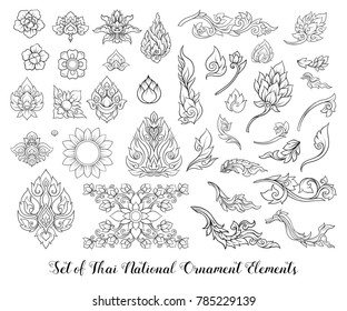 Set of outline elements of traditional Thai ornament. Stock vector illustration.