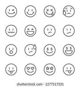 Set of outline emoticons, emoji isolated vector illustration