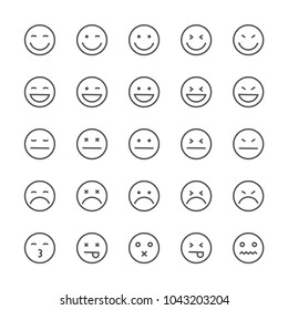 Set outline emotions icons