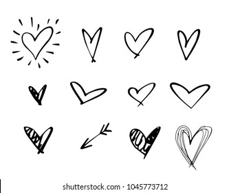 Set of outline hand drawn heart icon.Hand drawn doodle grunge heart vector set.Rough marker hearts isolated on white background. vector heart collection.Unique Painted.hand drawn arrow